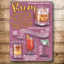 Rum Cocktails Drink Recipes Glasses Party Bar Pub Large Metal Steel Wall Sign