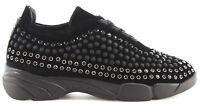 Scarpe Donna Sneakers PINKO Giglio 3 Z99 Black Shine Baby Shine Borchie Nuove