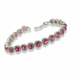 White gold finish Red Ruby and created diamond Heart Cut bracelet