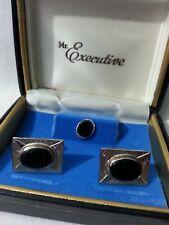 Estate Vintage Mr. Executive Cufflinks Tie Pin Tack Silver Tone Black Acrylic