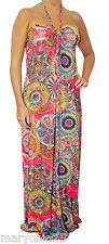Womens Fuchsia Red Pink MultiColor Summer Maxi Halter Long DRESS Juniors L LARGE
