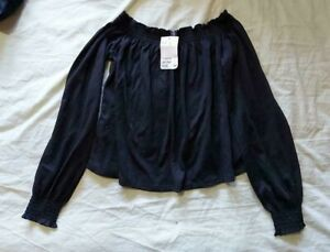 Ladies 'H&M' Black cropped elasticated neck long sleeve Top. Size S. NEW.