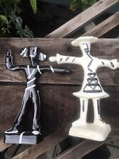 Julie Sanders Cyclamen Pair  Of Dancing Figures, Black And White Candle Sticks .