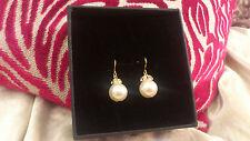 Swarovski pearl pierced gold plated bridal earrings w/ diamante crown - Handmade
