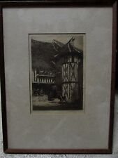ANTIQUE ETCHING TUDOR STYLE BUILDING SIGNED AND TITLED INDISTINCT