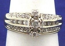1/3 ct DIAMOND BRIDAL WEDDING RING SET SOLID 10 KW GOLD 3.9 g SIZE 7
