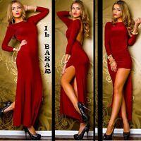 vestito donna abito profonda scollatura schiena spacco lato tg 40,42,44,46