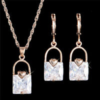 18K Rose Gold Plated CLEAR Crystal Pendant Necklace Drop Earrings Jewelry Set