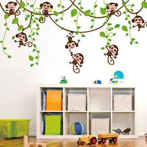 Animal Monkey Wall-Stickers Jungle Zoo Tree Nursery-Baby Kids Room DIY Decal Art