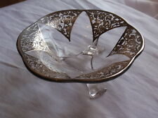 VINTAGE MOLDED CRYSTAL GLASS LAID OVER WITH FILIGREE STERLING SILVER DISH BOWL