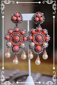 """LAWRENCE VRBA Stunning OOAK coral Art glass Earrings 4.0"""""""