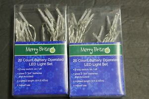 2  Merry Brite 20 x 2 count Cool  Bulb Battery operated LED lights Clear String