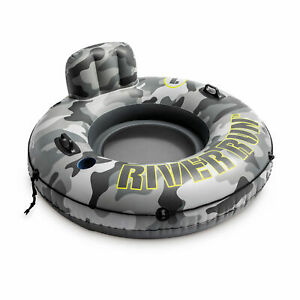 Intex River Run Camo Inflatable Floating Tube Raft with Cup Holders (Open Box)