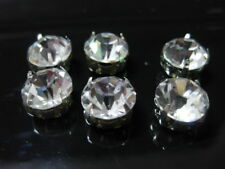 100 Silver Clear Crystal Glass Rhinestones Rose Montees 10mm Sew on Beads
