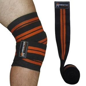 MEISTER ORANGE KNEE WRAPS w/ HOOK CLOSURES (PAIR) Power Weight Lifting Support