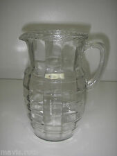Anchor Hocking Glass BLOCK OPTIC Clear Pitcher Rope Edge 54 oz