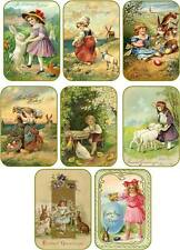 Vintage Easter 8 bunny children eggs antique pictures tags with envelopes