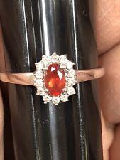 14k white Gold Orange oval  Topaz and Natural Diamond Ring