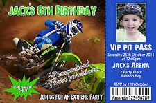 Personalised Motorbike Invitations Boys 5th 6th 7th Birthday Photo teens invites