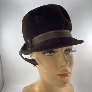 Vintage 1960's Era Ladies Medium Brown Velour Tall Fedora Style Hat Ferncroft