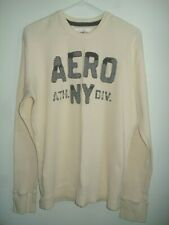 New Mens Sz Xl Aeropostale Shirt Distressed Look Ivory Blue Letters Long Sleeve