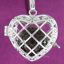 925 Silber - Herz mit Gitter Feenkugel Elfenrufer Anhänger Talisman braun 17H4e5