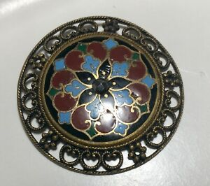 Antique Champleve Button LARGE French W Center Cut Steel & Filigree Border
