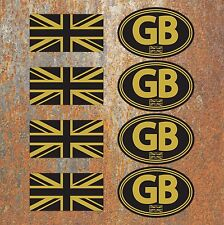 GB Union Jack Laminated Black Gold Stickers Motorbike Scooter Vespa Flag Decals