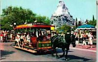 Vtg 1960s Disney Postcard Disneyland Horse Drawn Street Car Matterhorn - Unused