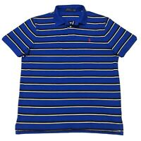 Polo Ralph Lauren Classic Fit Small Pony Mesh  Polo Shirt In Blue Striped