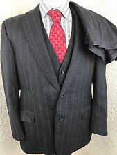 Paul Stuart Gray Striped 2 Button 3 Piece Suit 41R 37 X 24.25 Full Canvas