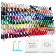 MACHINE EMBROIDERY STARTER SET: 160 POLYESTER COLORS THREAD, BOBBIN, STABILIZER