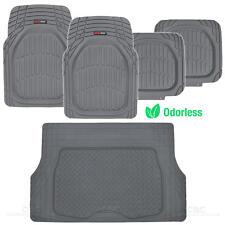 MotorTrend Deep Dish Car Rubber Floor Mats & Cargo Set- Gray Heavy Duty BPA Free