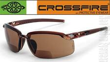 Crossfire ES5 1.25 HD Brown Bifocal Reading Magnifier Safety Glasses Sun Z87.1