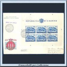 1951 San Marino Foglietto UPU Lire 200 Non dentellato n. 11 Usato su busta FDC
