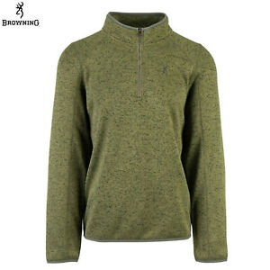 Browning Parry Fleece 1/4 Zip Pullover Sweater (L)- Hthr Loden Green