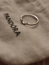 Size 9/60 Authentic PANDORA Crescent Moon Beaded Silver Ring #199156C01 w/ BOX