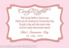 Personalised Girl Communion Candy Buffet Table Sign Design 1