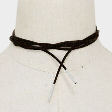 """Choker Necklace Long Faux Suede Wrap Around Metal Tip BLACK SILVER Trendy 74""""L"""
