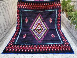 Azilal Moroccan Vintage Handmade Area rug Beni Ourain Berber Tribal Carpet 5 x 6