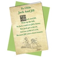 BIRTHDAY CARD RUDE FUNNY Jack & Jill Rhyme Friendship Adult Humour Quirky #8