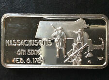 1974 Hamilton Mint Massachusetts HAM-549 Silver Art Bar A2835