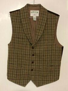 Orvis Plaid Vest 100% wool front, sz large, lined