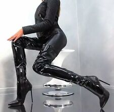 Womens Sexy Occident Patent leather High Heels Pointed Toes Over Knee Boots Tigh
