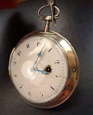 N.LIND LONDON ANTIKE SILBERNE GROßE 70MM ENGLISCHE SPINDELTASCHENUHR AUS 1800