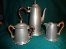 STEFF PEWTER TEA/COFFEE 3 pc. SET W/ROSEWOOD HANDLES