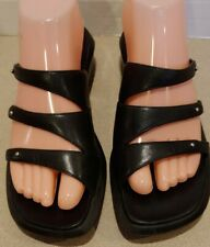 Clarks Black Leather Three Straps Wedged 2 inch Heel Sandal Slide Women Size 7 M