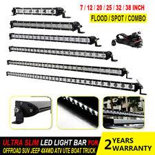 Ultra Slim LED Work Light Bar Single Row Spot Flood Combo 7/12/20/25/32/38 inch