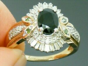 9ct Gold Sapphire , Baguette & Round Diamonds , Green Diamond Ring size P