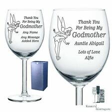 Godmother Godfather Personalised Wine Glass Gift Present Christening Gift Idea